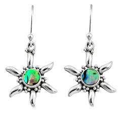 925 silver 2.11cts natural green abalone paua seashell dangle earrings r65107