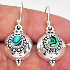925 silver 1.83cts natural green abalone paua seashell dangle earrings r65137