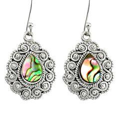 925 silver 4.02cts natural green abalone paua seashell dangle earrings r76558