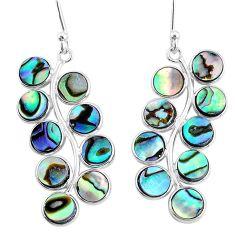 925 silver 10.65cts natural green abalone paua seashell dangle earrings t4632