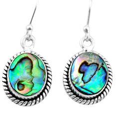 925 silver 6.94cts natural green abalone paua seashell dangle earrings t47266