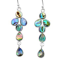 925 silver 8.15cts natural green abalone paua seashell dangle earrings t4771