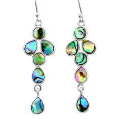 925 silver 8.15cts natural green abalone paua seashell dangle earrings t4774