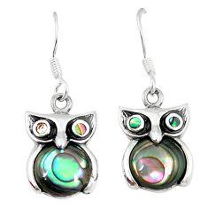 925 silver natural green abalone paua seashell owl earrings a55489 c14312