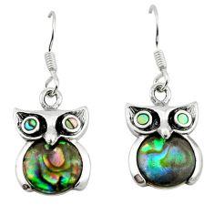925 silver natural green abalone paua seashell owl earrings a64457 c14318