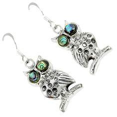 925 silver natural green abalone paua seashell round owl earrings jewelry c11846