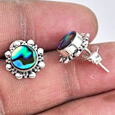 925 silver 3.03cts natural green abalone paua seashell stud earrings r55130