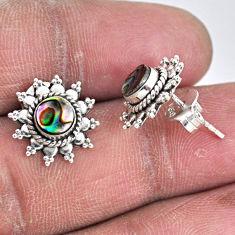 925 silver 1.63cts natural green abalone paua seashell stud earrings r55151