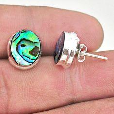925 silver 6.56cts natural green abalone paua seashell stud earrings t47272