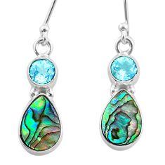 925 silver 6.64cts natural green abalone paua seashell topaz earrings t47284