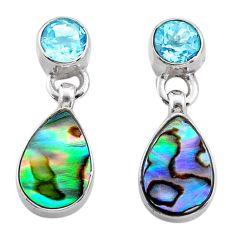 925 silver 6.25cts natural green abalone paua seashell topaz earrings t47297
