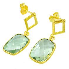 9.22cts natural green amethyst 14k gold handmade dangle earrings t11451