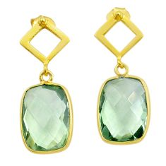 925 silver 10.70cts natural green amethyst 14k gold dangle earrings t44217