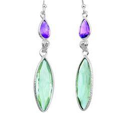 925 silver 11.80cts natural green amethyst amethyst dangle earrings r73280
