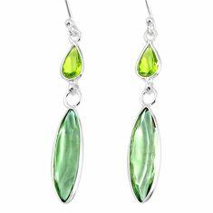 925 silver 12.47cts natural green amethyst peridot dangle earrings r76684