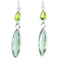 925 silver 11.22cts natural green amethyst peridot dangle earrings r83665