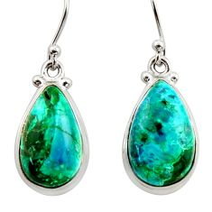 925 silver 11.53cts natural green azurite malachite dangle earrings r34744