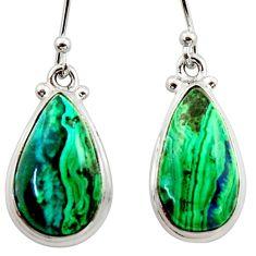 925 silver 13.79cts natural green azurite malachite dangle earrings r34747