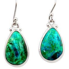 925 silver 15.53cts natural green azurite malachite dangle earrings r34751