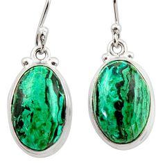 925 silver 13.27cts natural green azurite malachite dangle earrings r34768