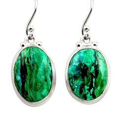 925 silver 13.77cts natural green azurite malachite dangle earrings r34771