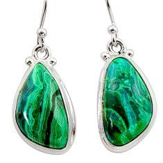 925 silver 12.50cts natural green azurite malachite dangle earrings r34778