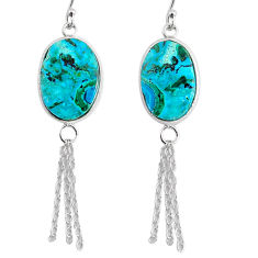 925 silver 13.63cts natural green azurite malachite dangle earrings r75674