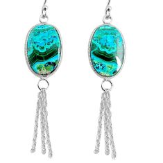 925 silver 14.30cts natural green azurite malachite dangle earrings r75678