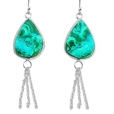 925 silver 12.99cts natural green azurite malachite dangle earrings r75695