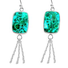 925 silver 15.34cts natural green azurite malachite dangle earrings r75698