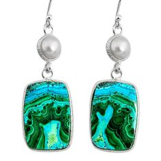 925 silver 18.39cts natural green azurite malachite pearl dangle earrings r75664