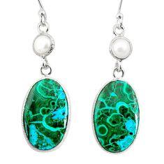 925 silver 19.09cts natural green azurite malachite pearl dangle earrings r75684