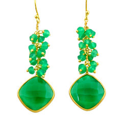 925 silver 18.85cts natural green chalcedony 14k gold dangle earrings r32784
