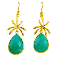 17.17cts natural green chalcedony 14k gold handmade dangle earrings t11472