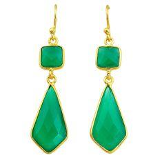 12.99cts natural green chalcedony 14k gold handmade dangle earrings t11648