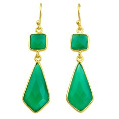 925 silver 12.54cts natural green chalcedony 14k gold dangle earrings t44204