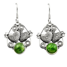 925 silver 6.18cts natural green chrome diopside couple hearts earrings d40784