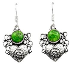 925 silver 6.16cts natural green chrome diopside heart love earrings d40788