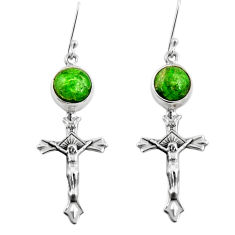 925 silver 7.36cts natural green chrome diopside holy cross earrings d39727
