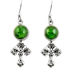 Clearance Sale- 925 silver 6.57cts natural green chrome diopside holy cross earrings d39738