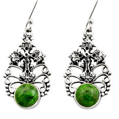 Clearance Sale- 925 silver 6.42cts natural green chrome diopside holy cross earrings d40796