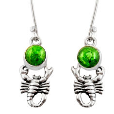 925 silver 6.70cts natural green chrome diopside scorpion earrings d39724
