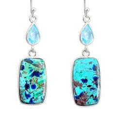 925 silver 17.60cts natural green chrysocolla topaz dangle earrings r86904
