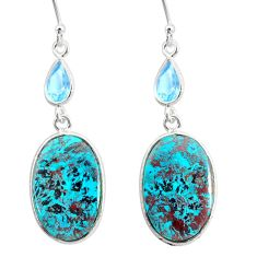 925 silver 16.39cts natural green chrysocolla topaz dangle earrings r86908