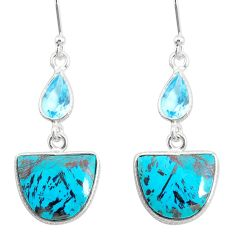 925 silver 13.25cts natural green chrysocolla topaz dangle earrings r86912