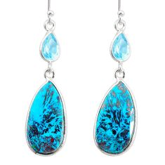 925 silver 16.83cts natural green chrysocolla topaz dangle earrings r86917