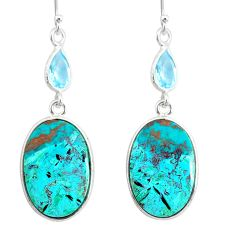 925 silver 15.91cts natural green chrysocolla topaz dangle earrings r86920