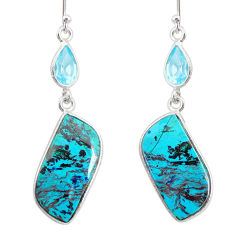 925 silver 16.79cts natural green chrysocolla topaz dangle earrings r86929