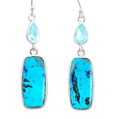 925 silver 16.41cts natural green chrysocolla topaz dangle earrings r86932
