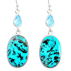 925 silver 24.42cts natural green chrysocolla topaz dangle earrings r86935